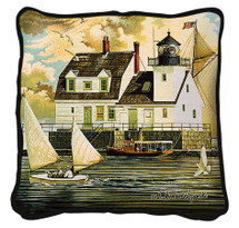 Rockland Breakwater Light Hand Finished single sided Woven Pillow Cover.  100% Cotton Made in the USA.  Size 17 x 17 Woven to Last a Lifetime Pillow