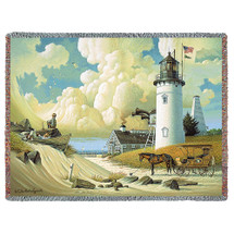 Lighthouse Dreamers Woven Blanket Large Soft Comforting Beach Throw 100% Cotton Made in the USA 72x54 Tapestry Throw