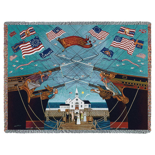 Pure Country Weavers | Dockside Marriage Woven Tapestry Throw Blanket with Fringe Cotton USA 72x54 Tapestry Throw
