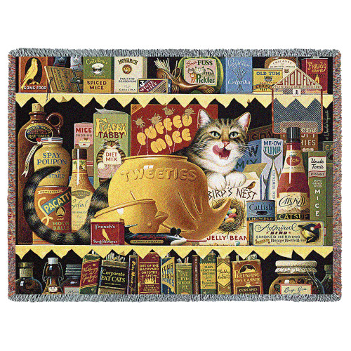 Pure Country Weavers - Ethel the Gourmet Cat by Charles Wysocki Woven Tapestry Blanket with Fringe Cotton 72x54 Cotton USA Tapestry Throw