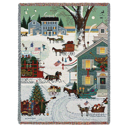 Pure Country Weavers - Cape Cod Christmas Woven Tapestry Throw Blanket with Fringe Cotton USA 72x54 Tapestry Throw