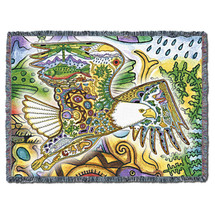 Bald Eagle Blanket, Native American Style Colorful Animal Throw Blanket, Pacific Northwest Totem by Sue Coccia – Woven Eagle Tapestry w/ Cotton Fringe (72x54) Made in USA Tapestry Throw