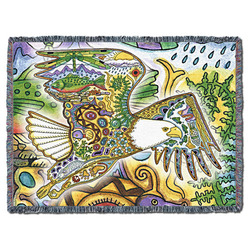 Pure Country Weavers | Bald Eagle Spirit Animal Totem Wall Tapestry Blanket Sue Coccia Cotton USA 72x54 Tapestry Throw