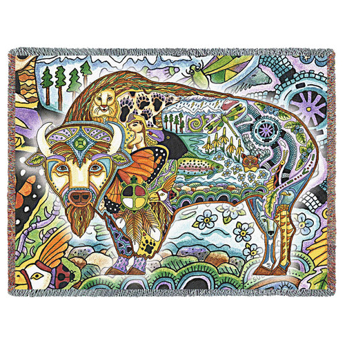 Bison Blanket, Native American Style Colorful Animal Throw Blanket, Pacific Northwest Totem by Sue Coccia – Woven Bison Large Soft Comforting w/ Cotton Fringe (72x54) Made in USA Tapestry Throw