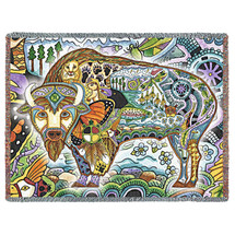 Bison Blanket, Native American Style Colorful Animal Throw Blanket, Pacific Northwest Totem Design by Sue Coccia – Woven Bison Tapestry w/ Cotton Fringe (72x54) Made in USA Tapestry Throw