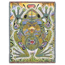Green Frog Blanket, Native American Style Colorful Animal Throw Blanket, Pacific Northwest Totem by Sue Coccia – Woven Frog Large Soft Comforting w/ Cotton Fringe (72x54) Made in USA Tapestry Throw