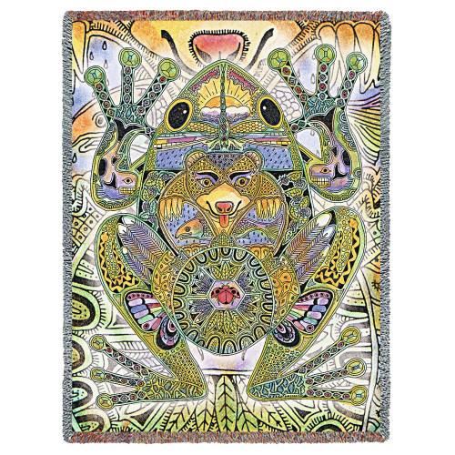 Frog - Animal Spirits Totem - Sue Coccia - Cotton Woven Blanket Throw - Made in the USA (72x54) Tapestry Throw