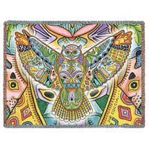 Horned Owl Blanket, Native American Style Colorful Animal Throw Blanket, Pacific Northwest Totem Design by Sue Coccia – Woven Night Owl Tapestry w/ Cotton Fringe (72x54) Made in USA Tapestry Throw