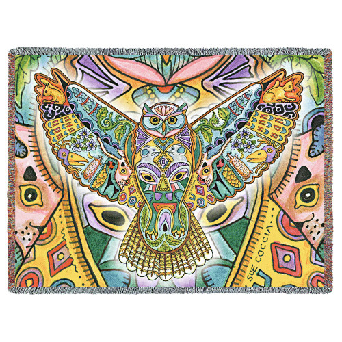 Horned Owl Blanket, Native American Style Colorful Animal Throw Blanket, Pacific Northwest Totem by Sue Coccia – Woven Night Owl Tapestry w/ Cotton Fringe (72x54) Made in USA Tapestry Throw