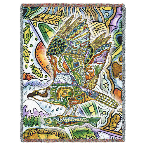 Osprey - Sea Hawk - Animal Spirits Totem - Sue Coccia - Cotton Woven Blanket Throw - Made in the USA (72x54) Tapestry Throw