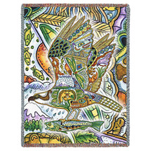 Aquatic Osprey Blanket, Native American Style Colorful Animal Throw Blanket, Pacific Northwest Totem Design by Sue Coccia – Woven Osprey Tapestry w/ Cotton Fringe (72x54) Made in USA Tapestry Throw