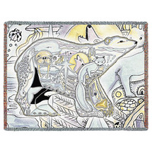 Polar Bear - Animal Spirits Totem - Sue Coccia - Cotton Woven Blanket Throw - Made in the USA (72x54) Tapestry Throw