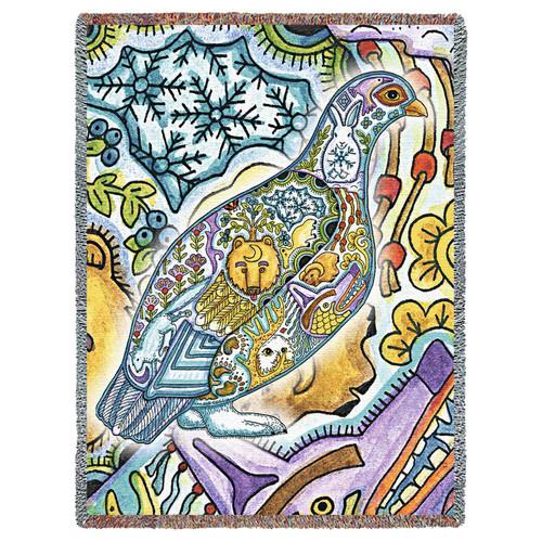 Ptarmigan Bird Native American Pacific Northwest Totem Sue Coccia Tapestry Throw