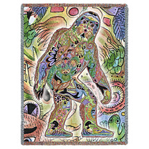 Sasquatch Blanket, Native American Style Colorful Animal Throw Blanket, Pacific Northwest Totem Design by Sue Coccia – Woven Yeti Bigfoot Tapestry w/ Cotton Fringe (72x54) Made in USA Tapestry Throw