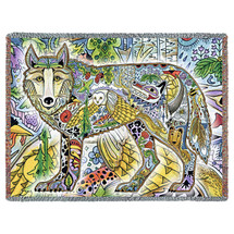 Wild Wolf Blanket, Native American Style Colorful Animal Throw Blanket, Pacific Northwest Totem by Sue Coccia – Woven Wolf Tapestry w/ Cotton Fringe (72x54) Made in USA Tapestry Throw