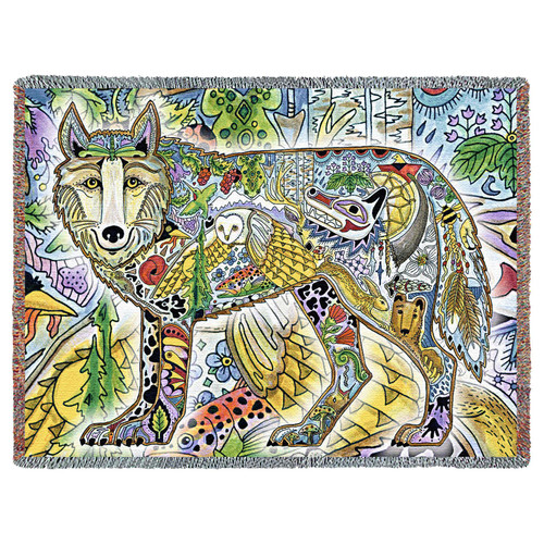 Wild Wolf Blanket, Native American Style Colorful Animal Throw Blanket, Pacific Northwest Totem Design by Sue Coccia – Woven Wolf Tapestry w/ Cotton Fringe (72x54) Made in USA Tapestry Throw