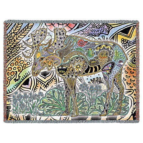 Moose Native American Pacific Northwest Totem Sue Coccia Tapestry Throw