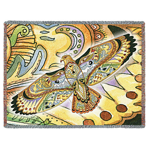 Hawk Blanket, Native American Style Colorful Animal Throw Blanket, Pacific Northwest Totem by Sue Coccia – Woven Hawk Tapestry w/ Cotton Fringe (72x54) Made in USA Tapestry Throw