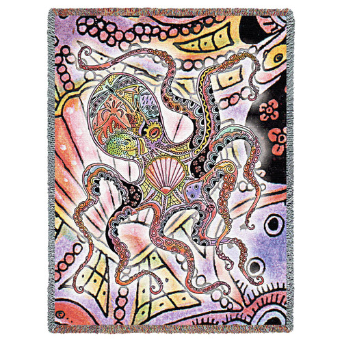 Pure Country Weavers - Octopus Pacific Northwest Totem Coccia Woven Tapestry Throw Blanket with Fringe Cotton USA 72x54 Tapestry Throw