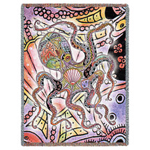 Marine Octopus Blanket, Native American Style Colorful Animal Throw Blanket, Pacific Northwest Totem Design by Sue Coccia – Woven Octopus Tapestry w/ Cotton Fringe (72x54) Made in USA Tapestry Throw