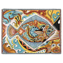Halibut Fish Blanket, Native American Style Colorful Marine Throw Blanket, Pacific Northwest Totem Design by Sue Coccia – Woven Halibut Tapestry w/ Cotton Fringe (72x54) Made in USA Tapestry Throw