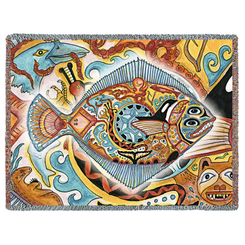 Halibut Fish Blanket, Native American Style Colorful Marine Throw Blanket, Pacific Northwest Totem by Sue Coccia – Woven Halibut Large Soft Comforting w/ Cotton Fringe (72x54) Made in USA Tapestry Throw