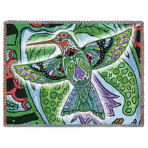 Hummingbird Blanket, Native American Style Colorful Bird Throw Blanket, Pacific Northwest Totem by Sue Coccia – Woven Hummingbird Large Soft Comforting w/ Cotton Fringe (72x54) Made in USA Tapestry Throw