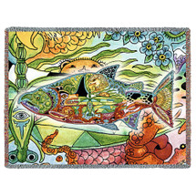 Chinook Salmon - Animal Spirits Totem - Sue Coccia - Cotton Woven Blanket Throw - Made in the USA (72x54) Tapestry Throw