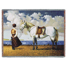 Sea Captain's Wife Abiding - Charles Wysocki - Cotton Woven Blanket Throw - Made in the USA (72x54) Tapestry Throw
