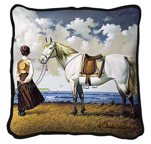 Sea Captain's Wife Abiding Hand Finished single sided Woven Pillow Cover.  100% Cotton Made in the USA.  Size 17 x 17 Woven to Last a Lifetime Pillow