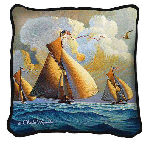 The Searam Hand finished Woven Pillow by Pure Country Weavers.  Made in the USA.  Size 17 x 17 Woven to Last a Lifetime Pillow
