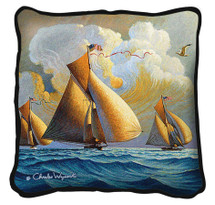 The Searam Textured Hand Finished Elegant Woven Throw Pillow Cover 100% Cotton Made in the USA Size 17x17 Pillow