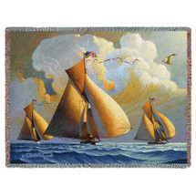 Pure Country Weavers - The Searam Sailboats Woven Tapestry Throw Blanket Cotton with Fringe Cotton USA 72x54 Tapestry Throw