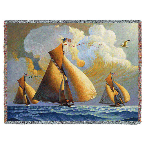 Pure Country Weavers | The Searam Sailboats Woven Tapestry Throw Blanket Cotton with Fringe Cotton USA 72x54 Tapestry Throw