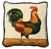 Rooster Textured Hand Finished Elegant Woven Throw Pillow Cover 100% Cotton Made in the USA Size 17x17 Pillow