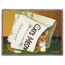 Pure Country Weavers | Cat's in Bag by Charles Wysocki Woven Tapestry Blanket with Fringe Cotton 72x54 Cotton USA Tapestry Throw