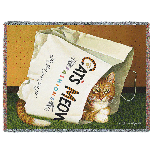 Cat's in Bag Cat Charles Wysocksi Tapestry Throw