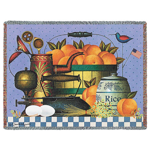 Peaches Woven Blanket Large Soft Comforting Country Home Throw 100% Cotton Made in the USA 72x54 Tapestry Throw