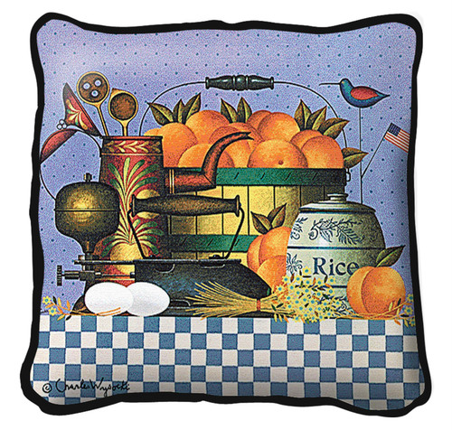 Peaches Hand finished Woven Pillow by Pure Country Weavers.  Made in the USA.  Size 17 x 17 Woven to Last a Lifetime Pillow