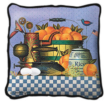 Peaches Hand Finished single sided Woven Pillow Cover.  100% Cotton Made in the USA.  Size 17 x 17 Woven to Last a Lifetime Pillow