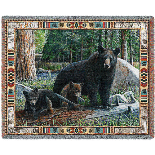 Black Bear and Cubs New Discoveries  Cabin Hunting Woven Blanket Large Soft Comforting Lodge Décor Throw 100% Cotton Made in the USA 72x54 Tapestry Throw
