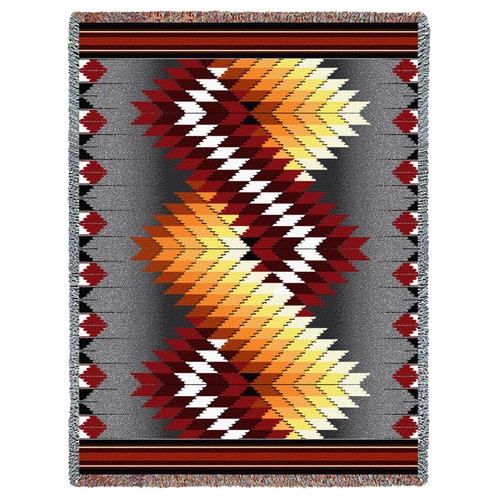 Pure Country Weavers - Whirlwind Fire Southwest Blanket | Woven Tapestry Camp Throw with Fringe Cotton USA 72x54 Tapestry Throw