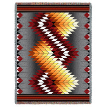 Whirlwind - Fire - Southwest Native American Inspired Tribal Camp - Cotton Woven Blanket Throw - Made in the USA (72x54) Tapestry Throw