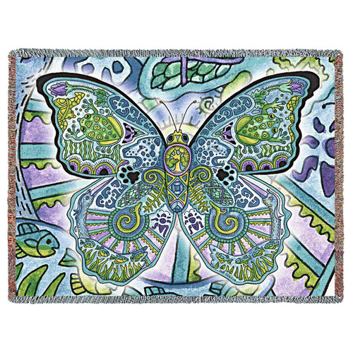 Butterfly Blanket, Native American Style Colorful Butterfly Throw Blanket, Pacific Northwest Totem by Sue Coccia – Woven Butterfly Tapestry w/ Cotton Fringe (72x54) Made in USA Tapestry Throw