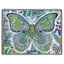 Blue Morpho Butterfly Native American Pacific Northwest Totem Sue Coccia Tapestry Throw