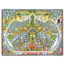 Cascadia - Animal Spirits Totem - Sue Coccia - Cotton Woven Blanket Throw - Made in the USA (72x54) Tapestry Throw