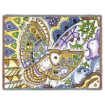 Flying Owl Blanket, Native American Style Colorful Owl Throw Blanket, Pacific Northwest Totem Design by Sue Coccia – Woven Owl Tapestry w/ Cotton Fringe (72x54) Made in USA Tapestry Throw
