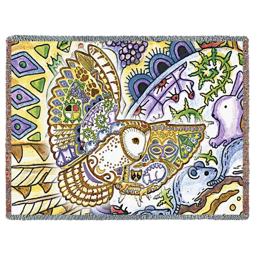 Flying Owl Blanket, Native American Style Colorful Owl Throw Blanket, Pacific Northwest Totem by Sue Coccia – Woven Owl Large Soft Comforting w/ Cotton Fringe (72x54) Made in USA Tapestry Throw