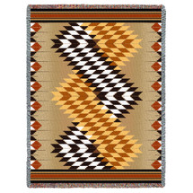 Pure Country Weavers - Whirlwind Sand Southwest Blanket   Woven Tapestry Camp Throw with Fringe Cotton USA 72x54Cotton 72x54 Tapestry Throw