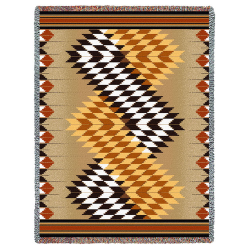 Whirlwind - Sand - Southwest Native American Inspired Tribal Camp - Cotton Woven Blanket Throw - Made in the USA (72x54) Tapestry Throw